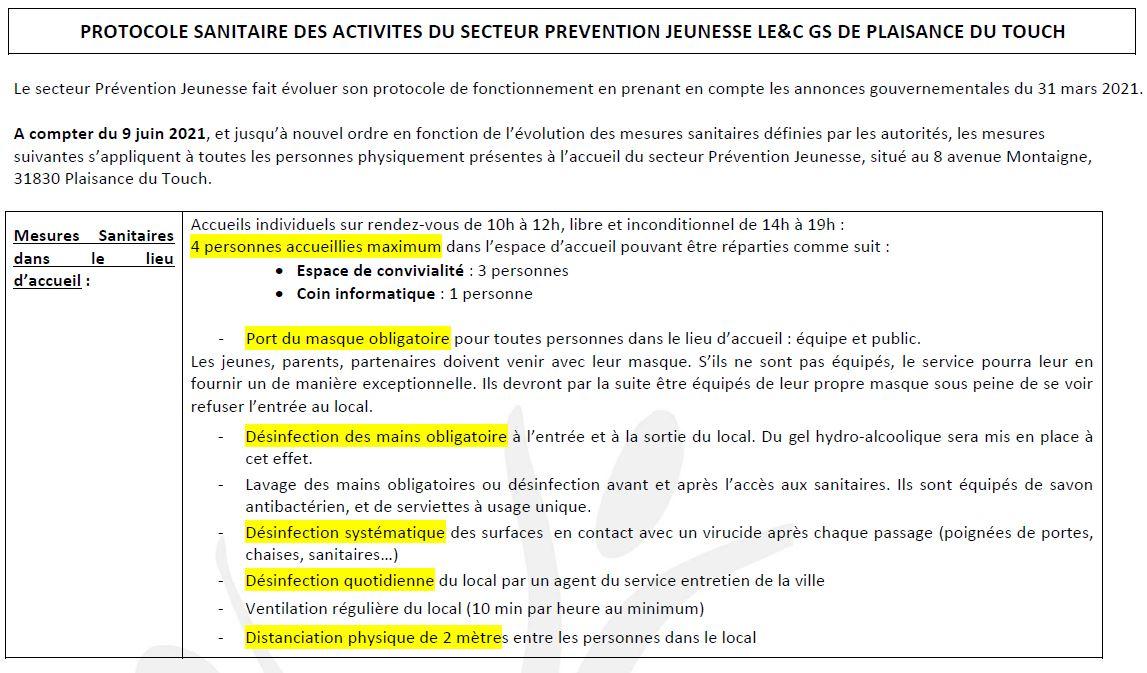Protocole sanitaire Prévention Jeunesse juin 2021